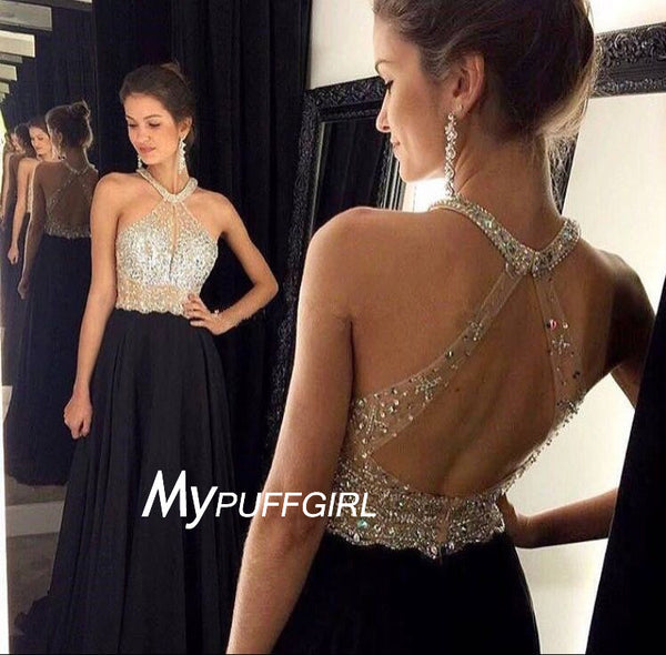 2016 Black Jewel Neck Beaded Sheer Bodice Prom Dress With Open Back