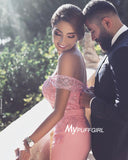 Pink Off The Shoulder Prom Dress, Homecoming Dress Lace Appliques