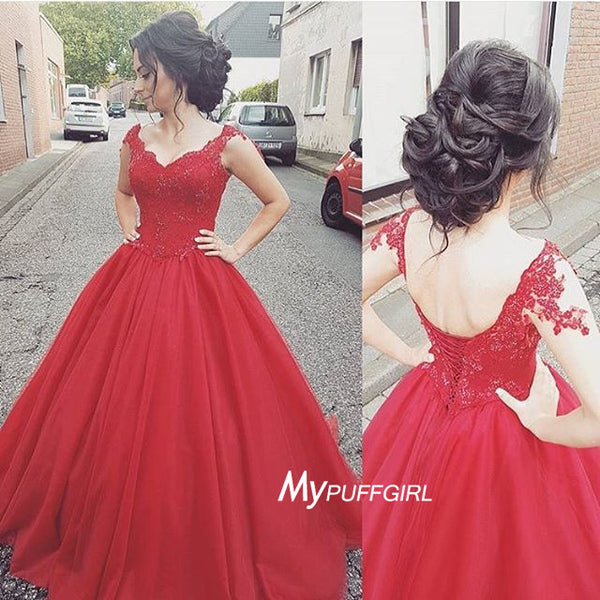 Gorgeous Red Sweetheart Cap Sleeve Ball Gown Prom Dress With Lace Appliques