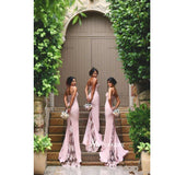 Pink Sweetheart Lace Bodice Mermaid Bridesmaid Gown With Lace Sweep Train