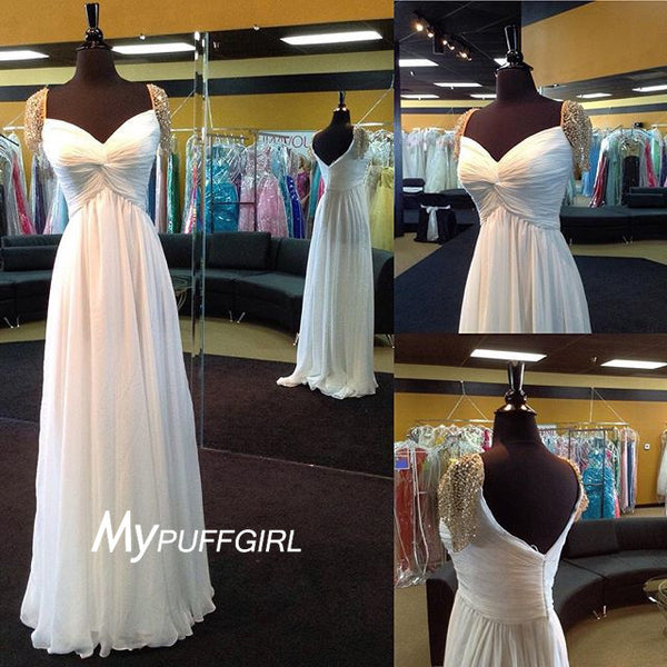 Ivory Draped Bodice Chiffon Formal Gown With Beaded Cap Sleeves