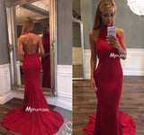 Red Halter High Neck Backless Mermaid Prom Dress With Pleated Bodice