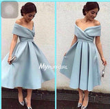 Silver Grey Off The Shoulder Tea Length Homecoming Dress