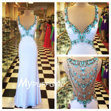White Fitted Flattering Bust Straps Prom Gown With Turquoise Stones