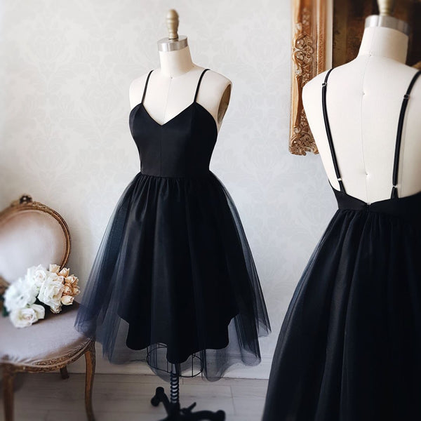 Black Little Dress Tulle A Line Open Back Homecoming Dress Cocktail Dress