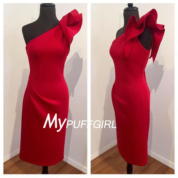 Fitted Red Satin One Shoulder Short Party Dress With Floral Detail