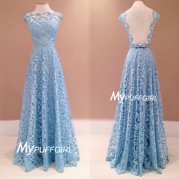 Light Blue Lace Cap Sleeves Floor Length Prom Gown With Open Back