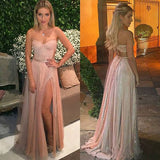 Blush Sweetheart Prom Dress, Open Back Long Party Dress With Side Slit