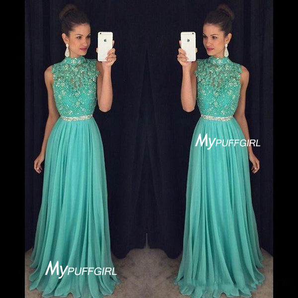 Mint High Neck Chiffon Long Prom Dress With Beaded Lace Appliques Bodice