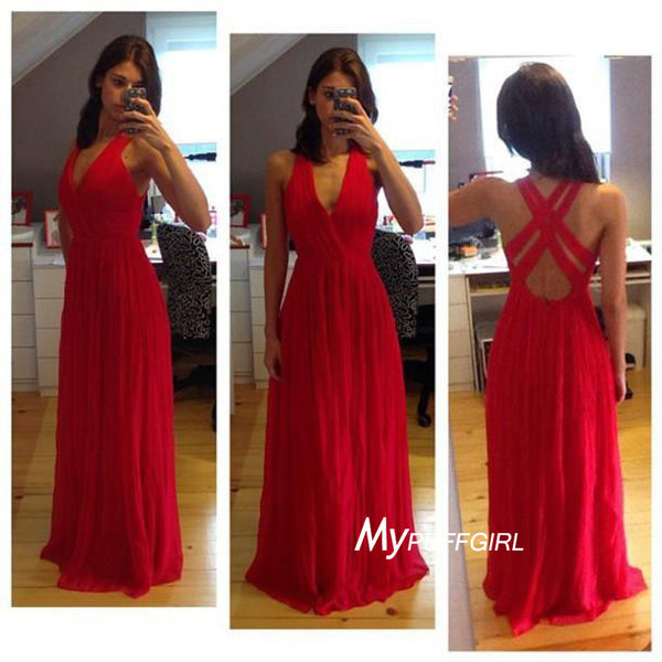 Red V Neck Chiffon Long Formal Evening Gown With Cut Out Back