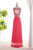 Watermelon Red Beaded Jewel Neck Chiffon Prom Gown With Open Back