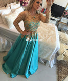 Jade Satin Long Sleeve Prom Dress,Long Formal Gown With Gold Lace Top