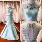 Beaded Light Green Illusion Prom Dress,Two Piece Prom Gown Keyhole Back