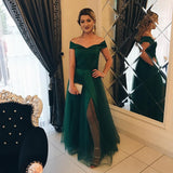 Dark Green Prom Dress Off The Evening Gowns A Line Skirt For Women Formal