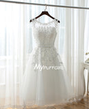 White Tulle Sheer Back Homecoming Dress With Lace Appliques