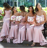 Elegant Sweetheart Mermaid Prom Dress Blush Pink Bridesmaid Dress With Sweep Train