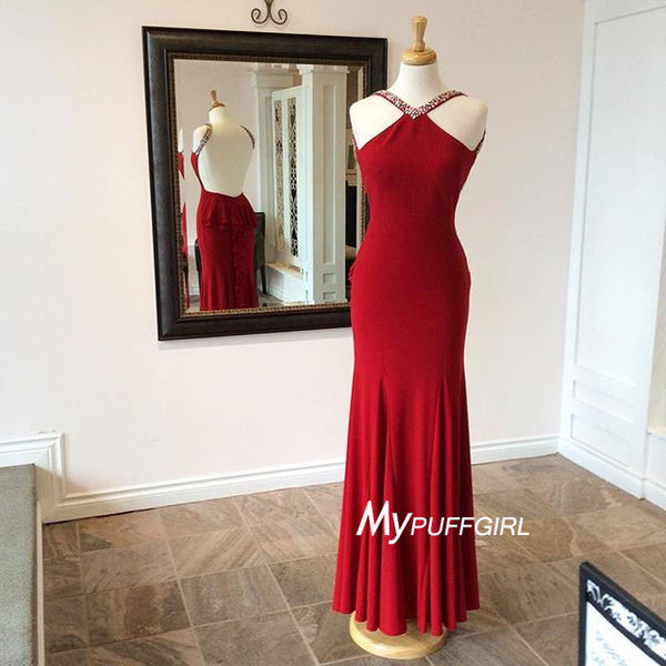 2016 Red Fitted Jersey Halter Formal Prom Gown With Open Back