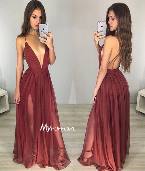 Burgundy V Neck Long Party Dress , Formal Gown Open Back