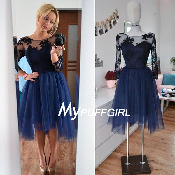 af0025faf3a Navy Blue Illusion Long Sleeves Tulle Cocktail Party Dress With Lace A –  mypuffgirl