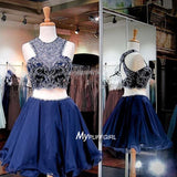 Beaded Navy Blue Two Piece Homecoming Dress Cut Out Shoulder