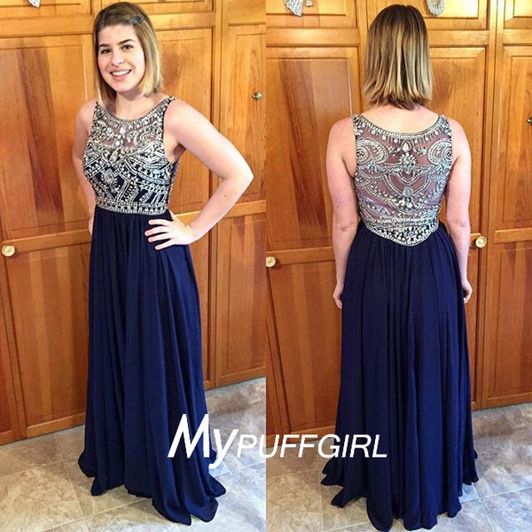 Navy Blue Bateau Sleeveless Chiffon Prom Dress With Beaded Bodice And Back