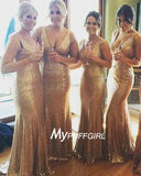 Gold Sequin V Neck Mermaid Bridesmaid Gown, Evening Dress