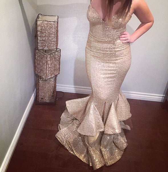 Gold Sequin Sweetheart Prom Dress, Mermaid Formal Gown With Layered Skit