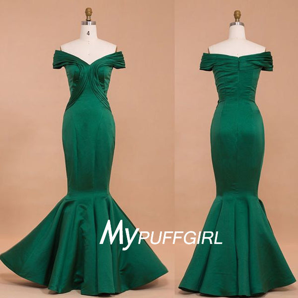 2016 Emerald Off The Shoulder Taffeta Mermaid Formal Gown , Celebrity Dresses