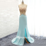 Aqua Fitted Open Back Slit Prom Dress With Beaded Lace Bodice And Cut Out Waist