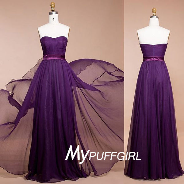 Plum Strapless Chiffon Floor Length Bridesmaid Dress With Draped Bodice