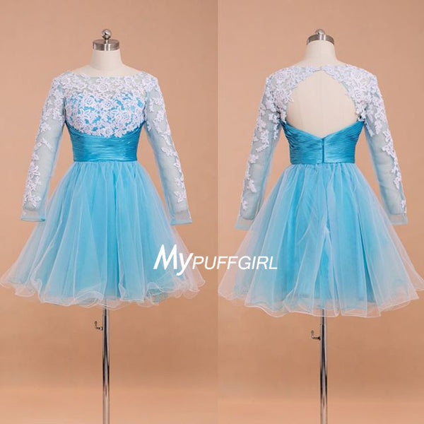 Sky Blue Long Sleeves Cut Out Back Tulle Cocktail Dress With Lace Appliques