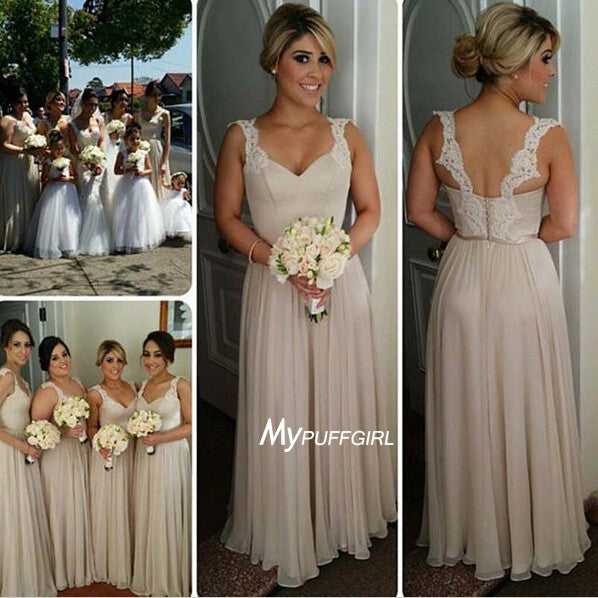 Sweetheart Cap Sleeve Chiffon Floor Length Bridesmaid Dress