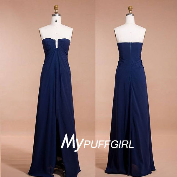2016 Navy Blue Strapless Chiffon Empie Long Bridesmaid Dress With Centre Slit