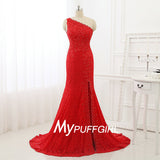Red Lace One Shoulder Beaded Mermaid Formal Evening Gown With Side Slit