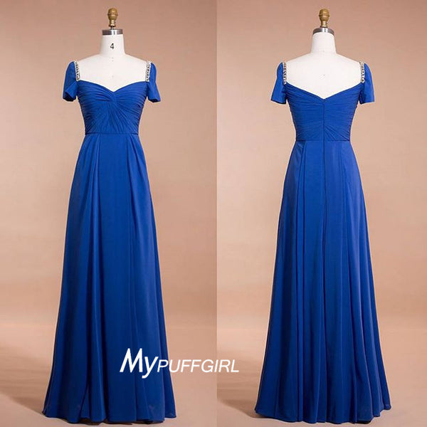 Light Royal Blue Short Sleeves Chiffon Formal Gown With Draped Bodice