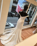 Ivory Off The Shoulder Satin Mermaid Prom Dress, Evening Gown