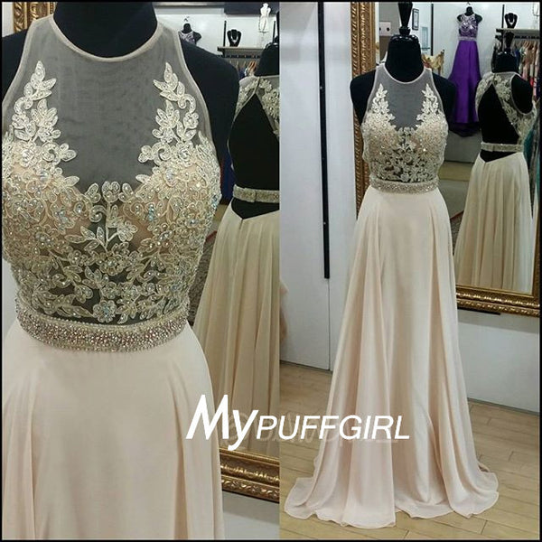 Light Champagne Sleeveless Illusion Chiffon Prom Dress With Lace Appliques