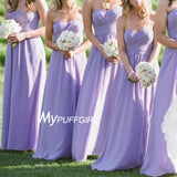 Lavender Sweetheart Ruched Bodice Chiffon Bridesmaid Dress Long