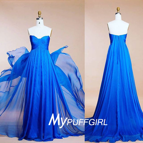 Blue Strapless Empire Silk Chiffon Long Bridesmaid Gown With Draped Bodice