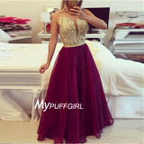 Burgundy Plunging Illusion Beaded Lace Bodice Prom Dress With Sheer Back