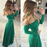 Green Off The Shoulder Formal Gown, Jersey Long Party Dress With Ruched Bodice