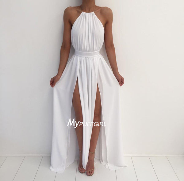 White Halter Chiffon Backless Maxi Long Prom Dress With High Slit