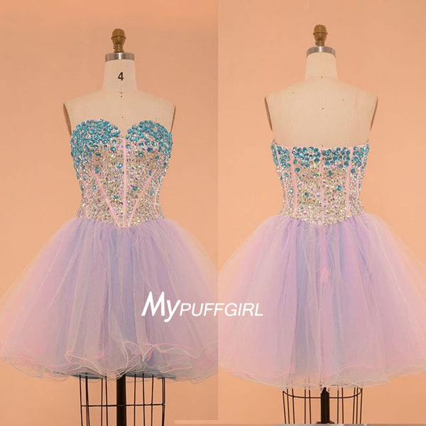 Light Lavender Tulle Sweetheart Cocktail Party Dress With Crystals