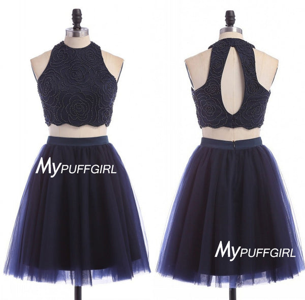 Navy Blue Two Piece Keyhole Back Tulle Cocktail Party Dress With Beaded Crop Top
