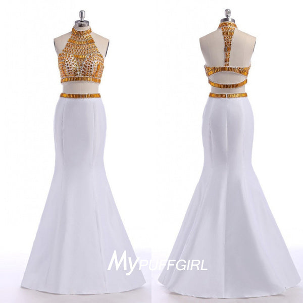 White Taffeta High Neck Two Piece Mermaid Prom Gown With Gold Crystals Top