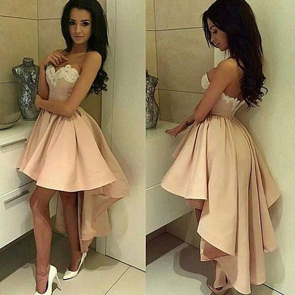Champagne Sweetheart High Low Skirt Cocktail Dress With Lace Appliques