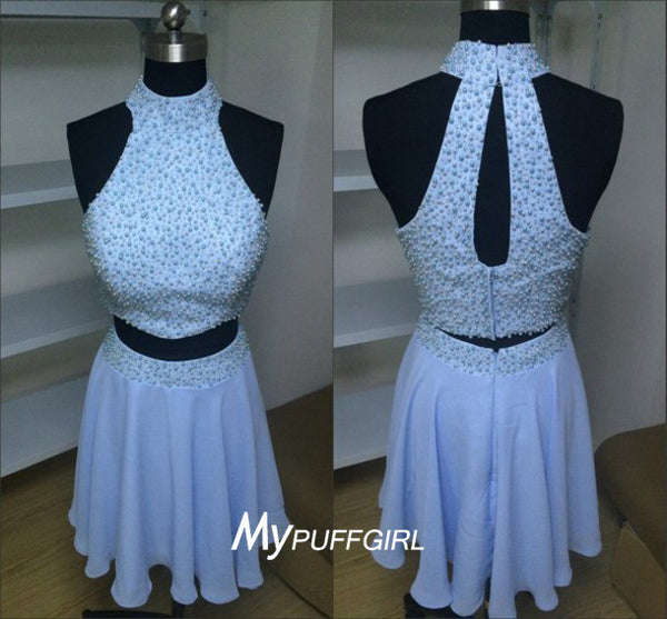 Light Blue Halter Two Piece Cocktail Party Dress With Fully Beaded Top