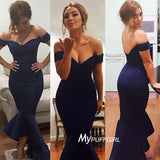 2016 Off The Shoulder Satin Mermaid Formal Gown With Asymmetrical Skirt