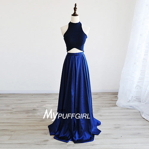 Navy Blue Satin Halter Two Piece Formal Prom Gown With A Line Skirt