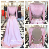 Beaded Pink Two Piece Long Sleeve Prom Dress ,Formal Gown Keyhole Back